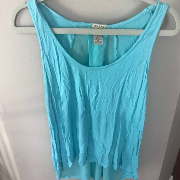 light blue tank with sheer back